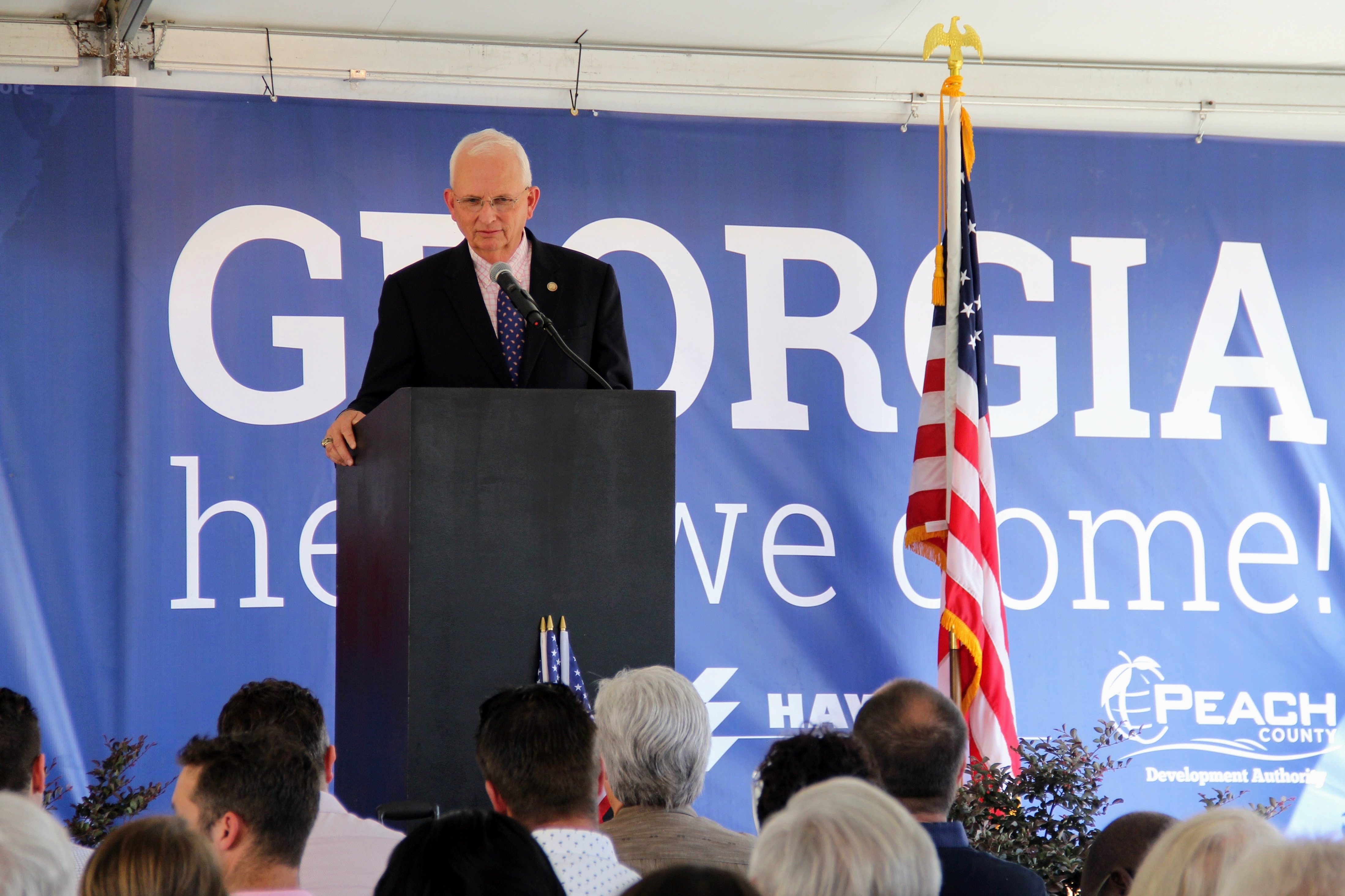 Commissioner Gary Black of the Georgia Department of Agriculture, shares a few words at the Ground Breaking Ceremony for Pure Flavor in Peach County, Georgia.